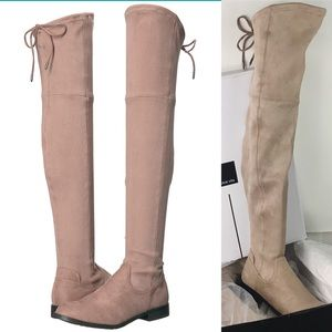 Dolce Vita Beige Microsuede Over the Knee Boots 6